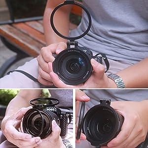 for 72MM Filter Yifant 49MM Aluminum Rapid Camera Lens ND Filter Mount Bracket Quick Filter Adapter Ring Exchange System