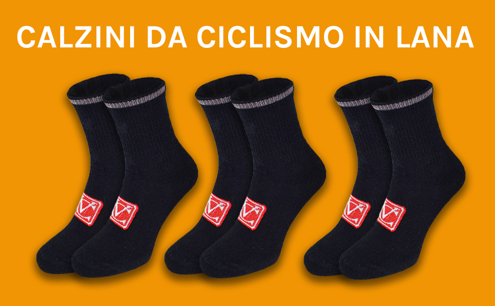 VeloChampion VC Calze Sportive da Ciclismo Invernali in Lana Termica Calda rinforzate Tallone e Polpaccio per Il Massimo Comfort