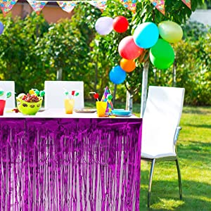 Green PUZINE 30*108Metal Foil Edge Table Skirt Purple Metal Foil Party Table Skirt 108 x 30 Wire Background Party Wedding Dress Table Skirt