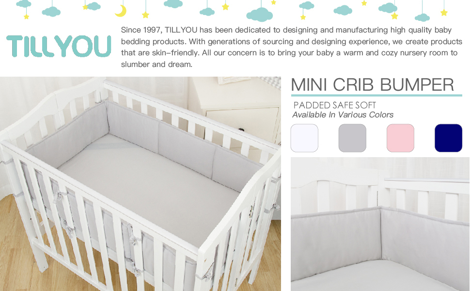 TILLYOU Baby Breathable Crib Bumper Pads for Portable and Mini Cribs 24x38 Ma...