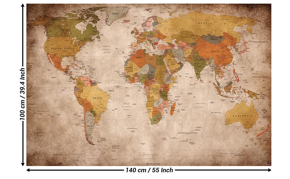 Cartina Geografica Mondo Poster.Great Art Xxl Poster Mappamondo Retro Decorazione Da Parete Dall Aspetto Antico Globo Continenti Atlante Mappa Del Mondo Vecchia Scuola Vintage Geografia 140 X 100 Cm Amazon It Fai Da Te