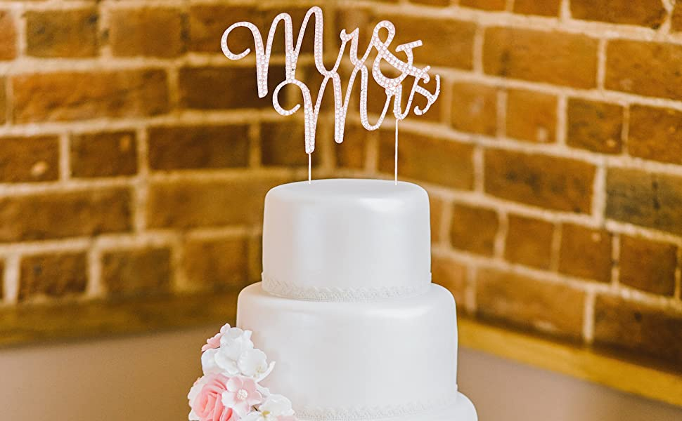 mr and mrs cake topper rose gold wedding cake accessories