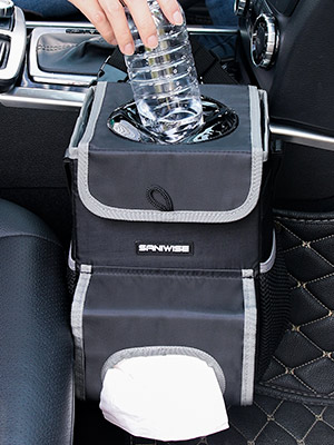 Car Trash Can Automotive Garbage Cans With Lid Pockets Tissue Holder Car Interior Accessories