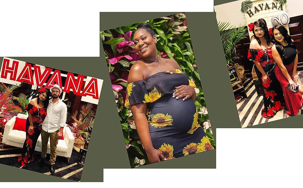 sun flower floral long off shoulder maxi dresses for women