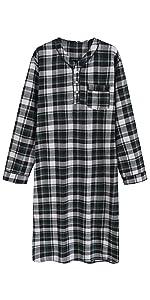 men cotton flannel warm soft nightgown nightshirt loungewear