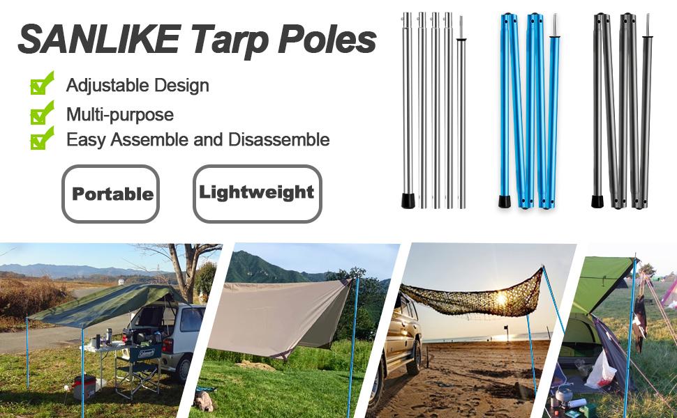 Camping Tent Rain Tarp Vikye 8 Pcs Tent Rod Canopy Rod Tent Pole Made of Galvanized Iron for Beach Shelter