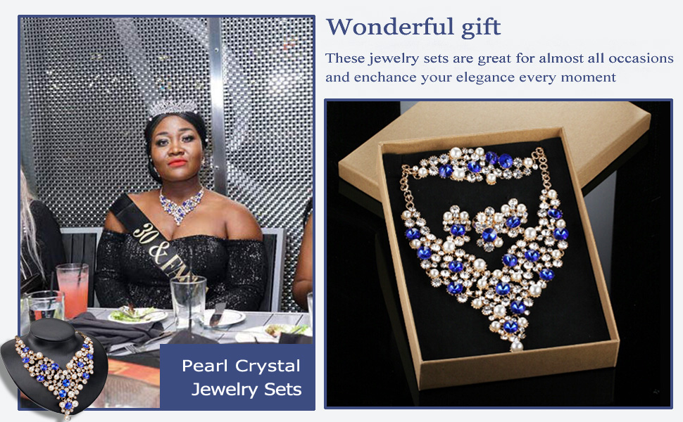 blue Crystal Pearl Statement Jewelry Sets for Women