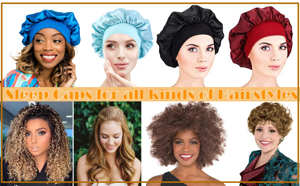 Hair Covers for Women, Satin Night Sleep Cap Hair Bonnet for Chemo Cancer Hair Loss