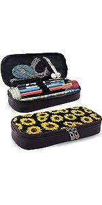 Sunflowers Pencil Case Leather Storage Pen Bag