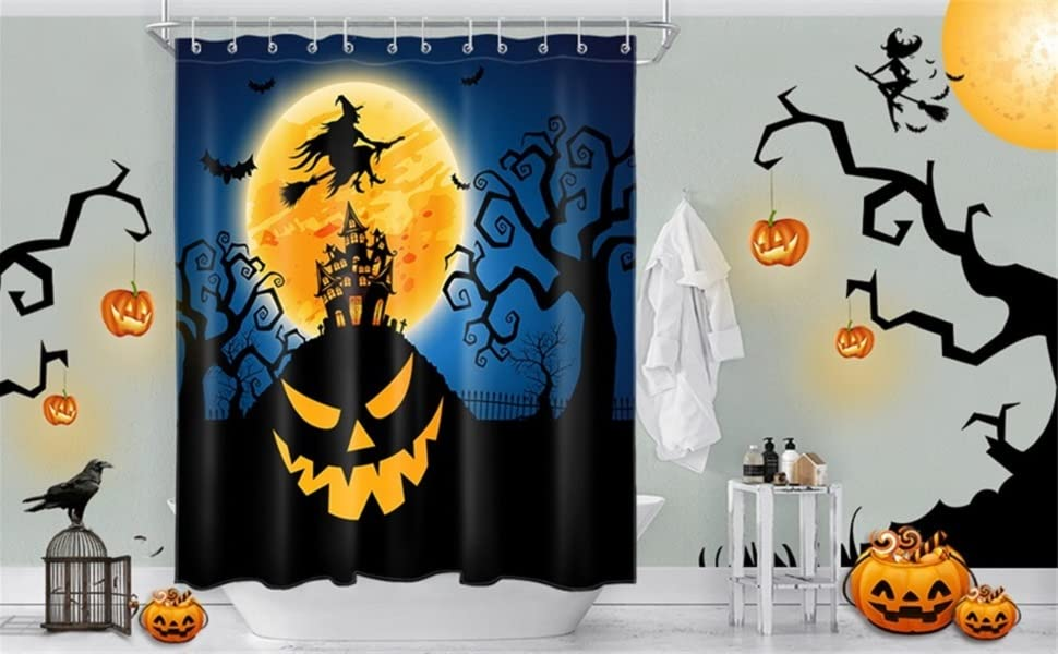 """Details about  /Horror Halloween Night Full Moon Ghost Shower Curtain Set Waterproof Fabric 72/"""""""