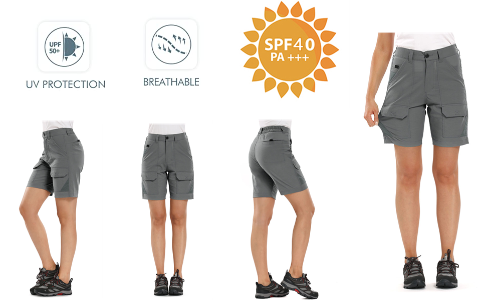 Women's Stretch Hiking Shorts, Outdoor Quick Dry Elastic Waist Casual Above Knee Cargo Pants