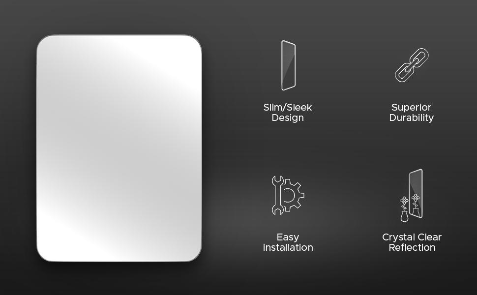slim sleek design mirror crystal clear reflection hardware included