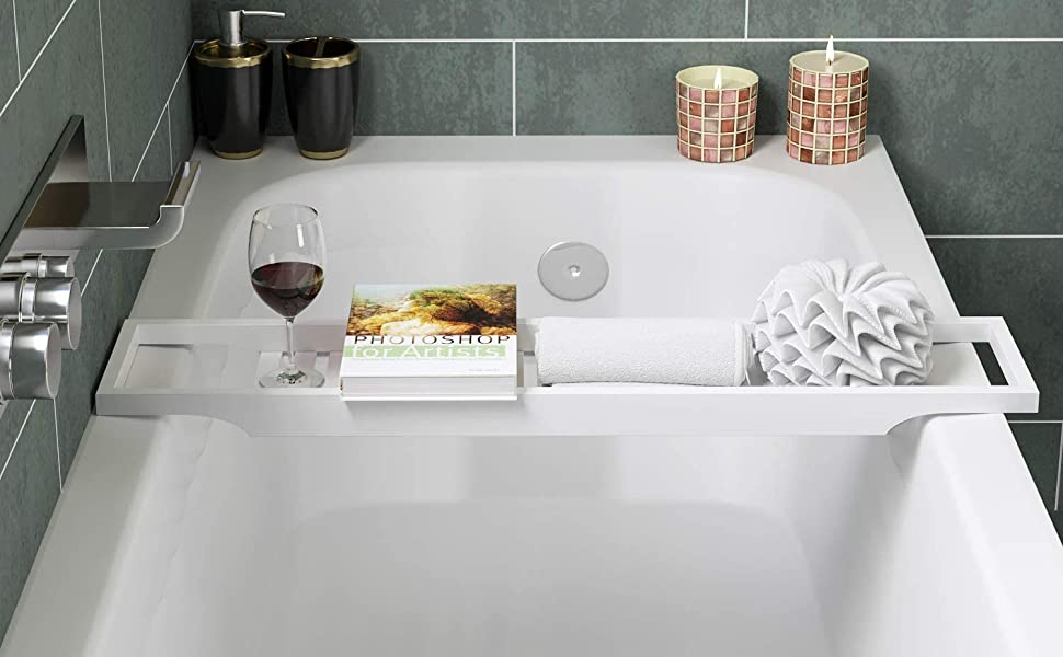 Homfa Mensola per Vasca Ripiano Bagno Libro Riposo Supporto per Bicchiere Vino Dispositivo Vassoio Bianco
