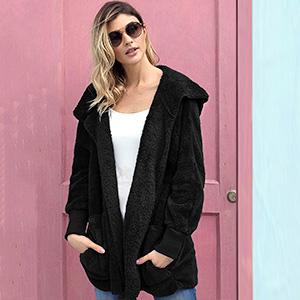warm autumn winter fleece jacket cardigan coat for women