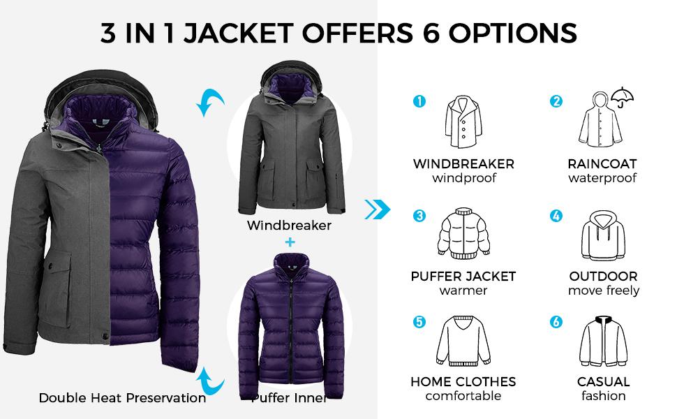 Wantdo Women's 3 in 1 Down Ski Jacket