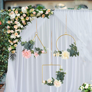 Artificial peony flower wreath for wedding backdrop decoration