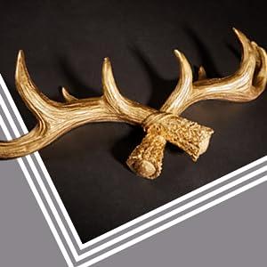 Hansmeier Cornamenta Colgador - Oro - 49 cm - Ciervo Colgador para la Pared - Decoración de Gancho y Pared multipropósito - Alta Capacidad de Carga ...