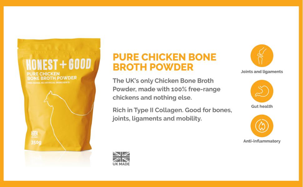 chicken bone broth powder uk gut health anti inflamatory ligaments joints mobility organic