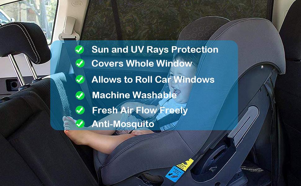 Tevlaphee  Auto Innen Sonnenschutz Kinder Kinder Schatten Sonnenschutz UV Hautkomfort Baby Reisen