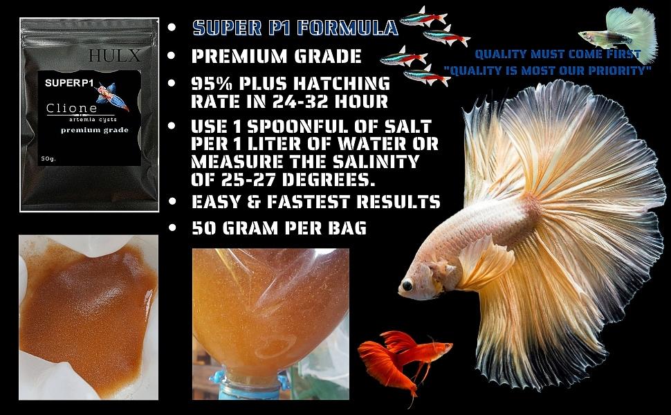 Fish Food Tropical Feed Color Enhancer Sinking Pellets Baby Newborn artemia Cysts Brine Shrimp Eggs