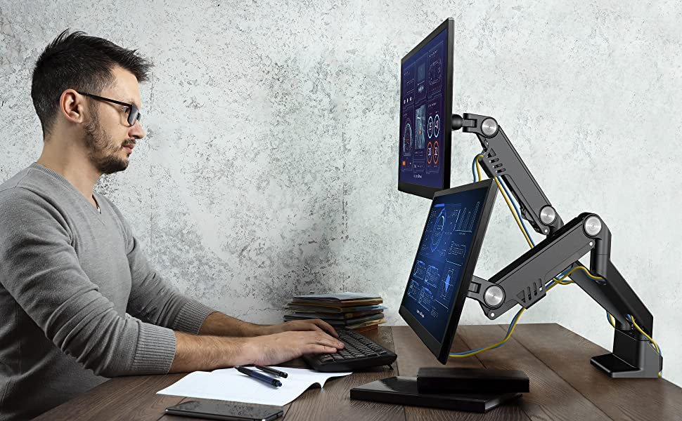 up to 31 lbs each monitor. Easily lift your curved or flat screen up to the desired viewing angle.