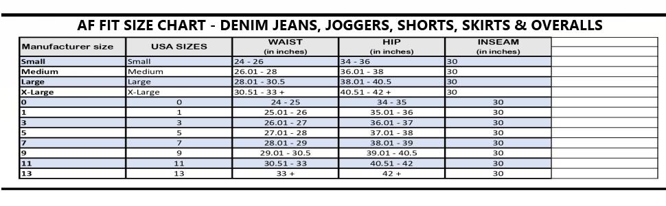 juniors women size chart denim jeans jegging joggers pants shorts skirts