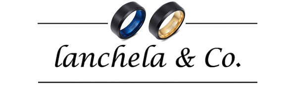 lanchela & co. logo tungsten rings