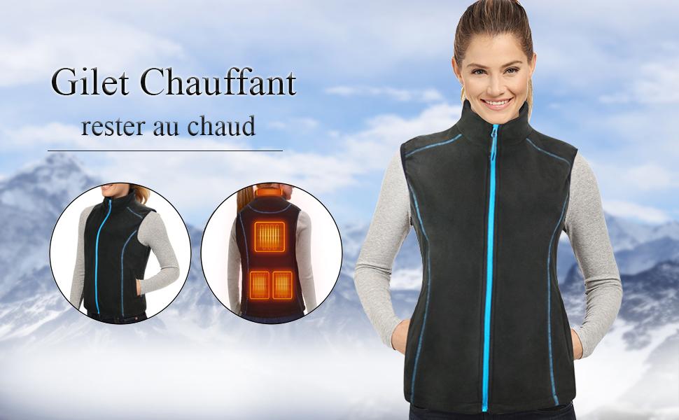 Conqueco Chauffé Gilet électrique Polaire Gilet Hiver Chaud Vêtements Avec Pack
