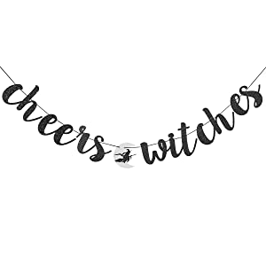 Cheers Witches Banner Halloween Bachelorette Party Sign Women/'s October Birthday Decorations Girl/'s Weekend Decoration Gold Black Glitter