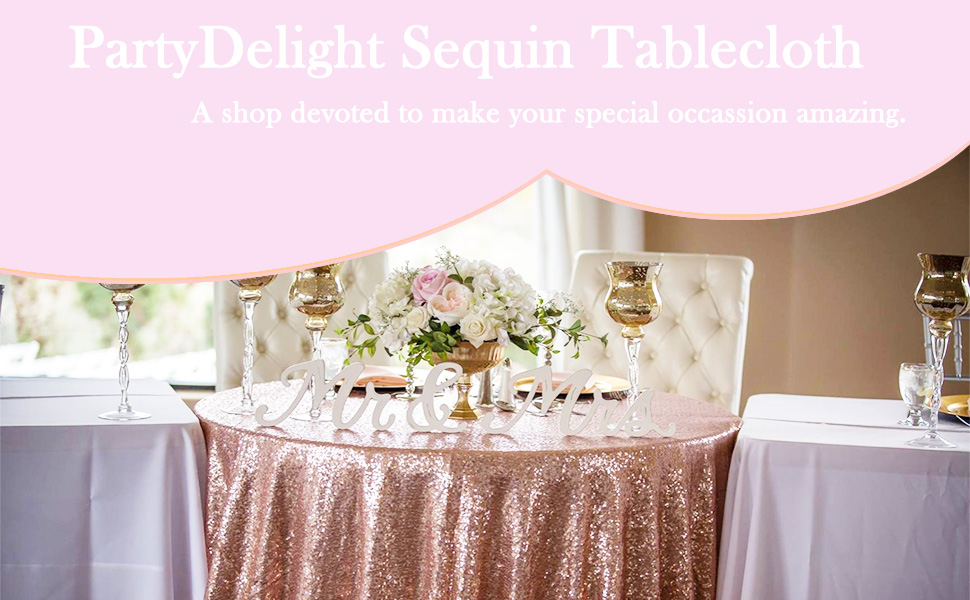 rose gold sequin tablelcoth