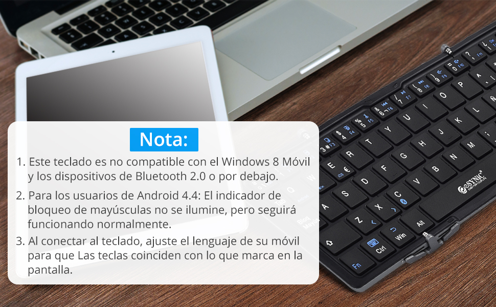 ESYNiC Mini Bluetooth3.0 Teclado Inalámbrico Tri-Plegable de ...