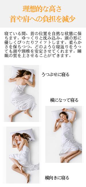 理想的な高さ、首や肩への負担を減少