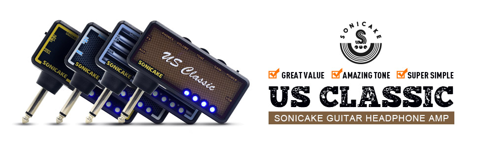 SONICAKE吉他耳機放大器插件,具有合唱和混響效果以及老式過載聲音