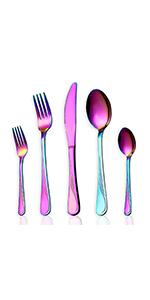 HOMQUEN Juego de Cubiertos, Juego de Platos y Cubiertos de Colores, Servicio de Juego de Acero Inoxidable para 6 Personas, Cubiertos de Comedor de 24 Piezas (Color arcoíris): Amazon.es: Hogar