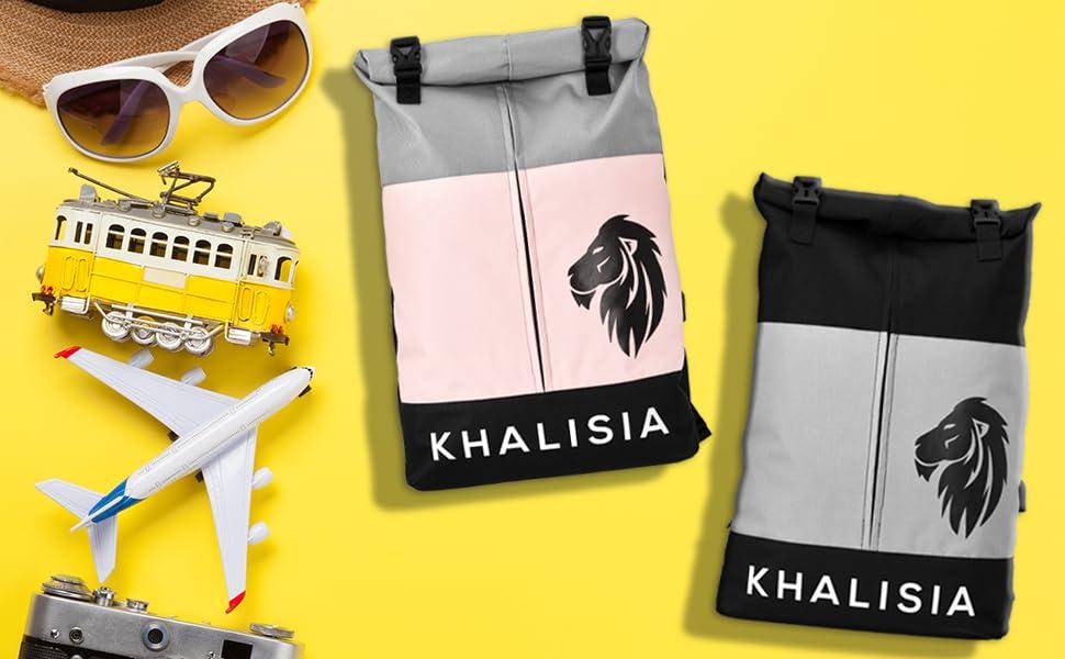 Damen Rucksack Reisetasche Khalisia Laptoptasche Wasserdicht Fahrradtasche Rosa Rolltop Daypack