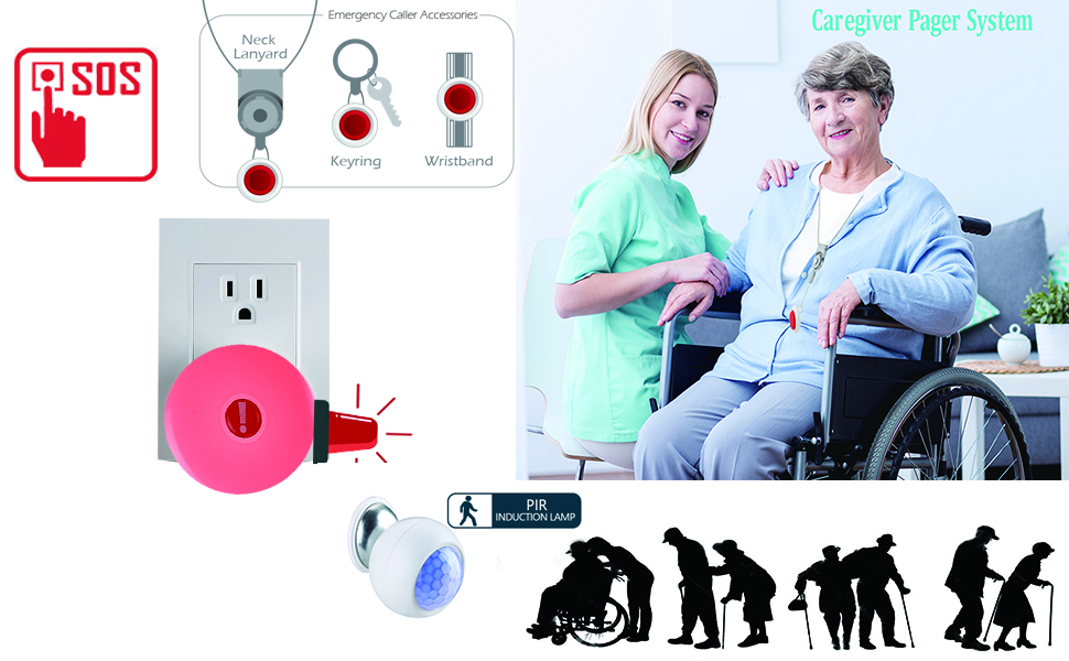 Caregiver Pager, Wireless Alert System with SOS Call Buttons and Monitor Sensor