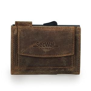 Secwal crédit grise sw2 portefeuille étui cuir vintage BLEU avec münzfach