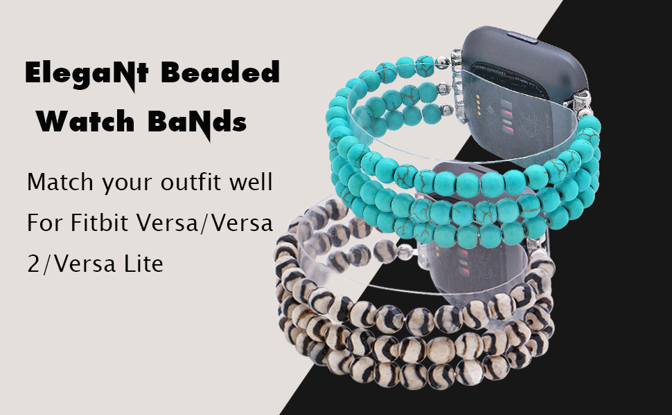 Handmade Beaded Hematite Dressy Fashion Jewelry Bracelet Band for Women Girls Silver C/&L Accessories Wristband Compatible with Fitbit Versa 2 Bands Versa Bands//Versa Lite Bands