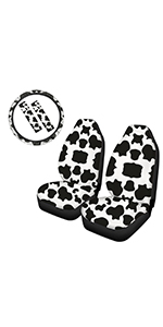 Cow Print Front Seat Cover with Steering Wheel Cover and Seatbelt Pads