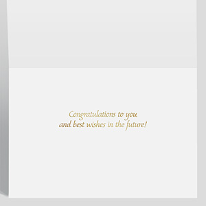 Shows the inside of a congratulations card with a greeting sentiment stamped in gold foil.