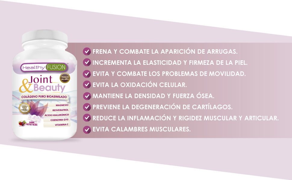 Colágeno en polvo con magnesio y ácido hialurónico | Coenzima Q10 + resveratrol + vitamina C | Piel nutrida y sin arrugas | Articulaciones lubricadas y sin dolor | Colágeno puro con