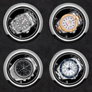 Watch winder rotors with coordinated stop position