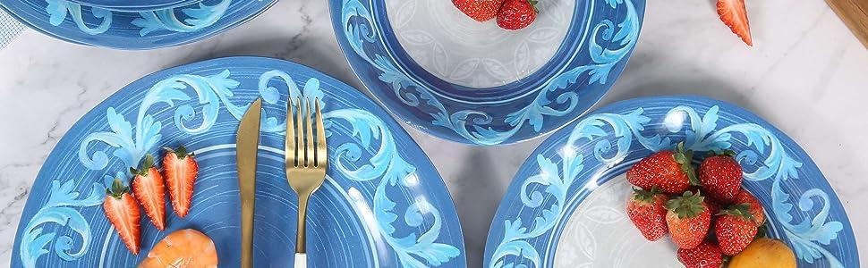 melamine plates and bowls set