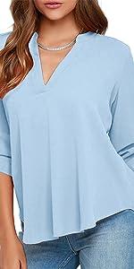 Casual Chiffon Blouse Solid Loose V Neck Chiffon Tunic Shirt