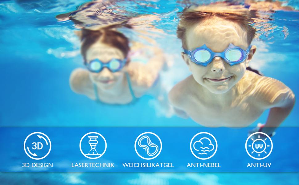 Shenmate Schwimmbrille Kinder Laser Lens Technologie Anti Nebel Uv Schutz Kein Leck Mit Wasserdicht Weiches Silikon Taucherbrille Kinder 2x Ohrstöpsel 1x Nasenclips Aufbewahrungsbox 4 12 Jahre Sport Freizeit