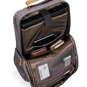 Estarer Sac /à Dos Ordinateur Portable 15.6 Pouces en Toile Vintage Sac Homme Business Backpack pour Travail Ecole Gris