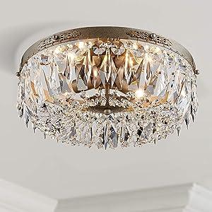 chandelier crystal flush mount antique silver ceiling light