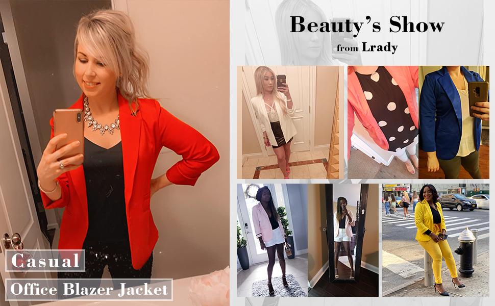 Lrady Women 34 Sleeve Blazer Open Front Cardigan Jacket Work Office Blazer