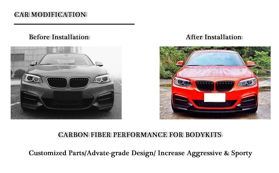 99Parts Carbon Fiber Front Bumper Splitter Lip Spoiler Fit for 2014-2018 BMW F22 2-Series 220i 228i M235i