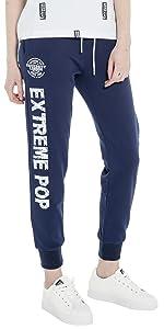 Extreme Pop Donna Pantaloni della Tuta in Puro Cotone Pantaloni Slim Fit Pantaloni Cargo in Maglia di Spugna Francese Colori Nero Grigio Blu
